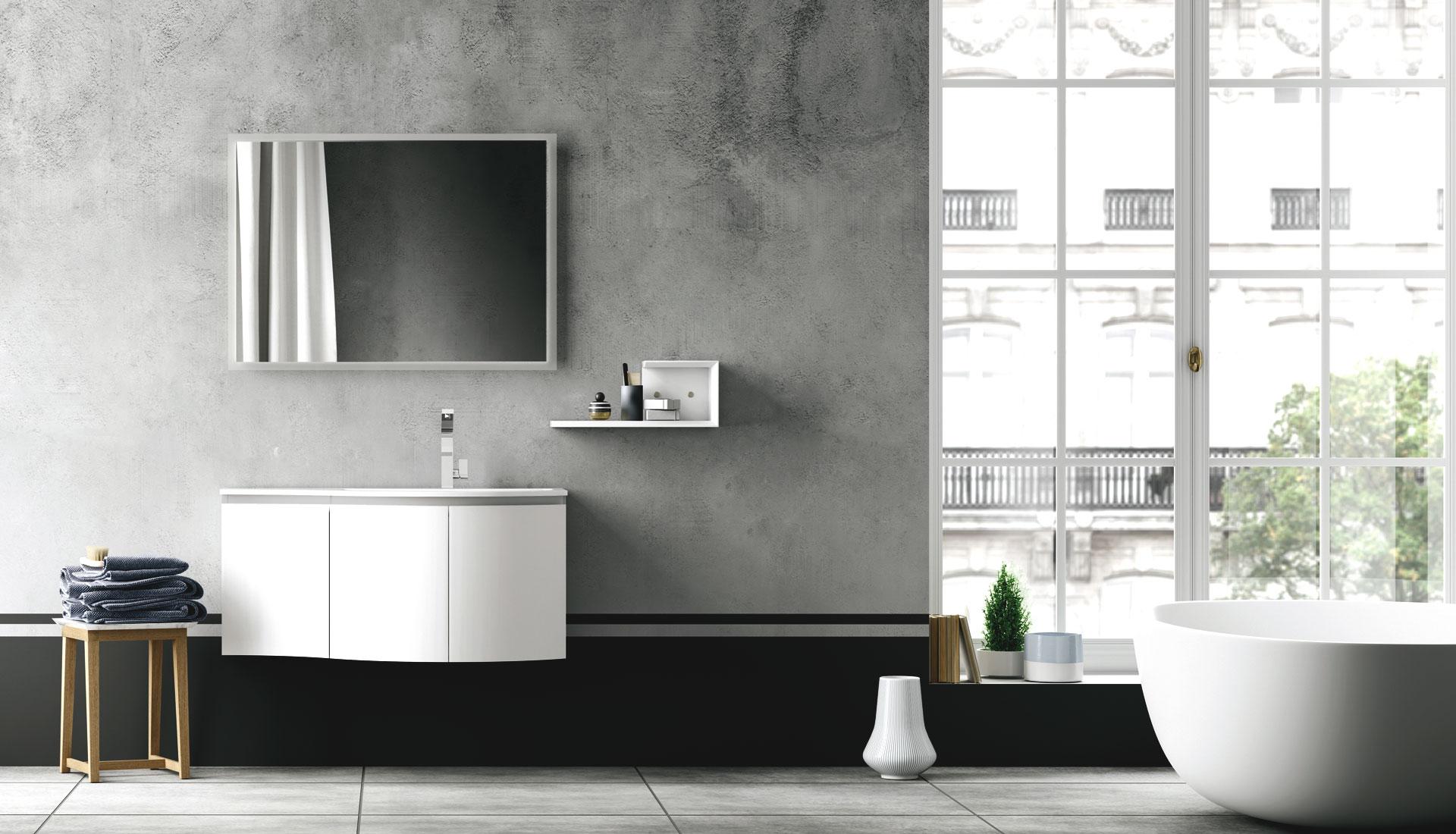 Handleless bathroom furniture puntotre arredobagno