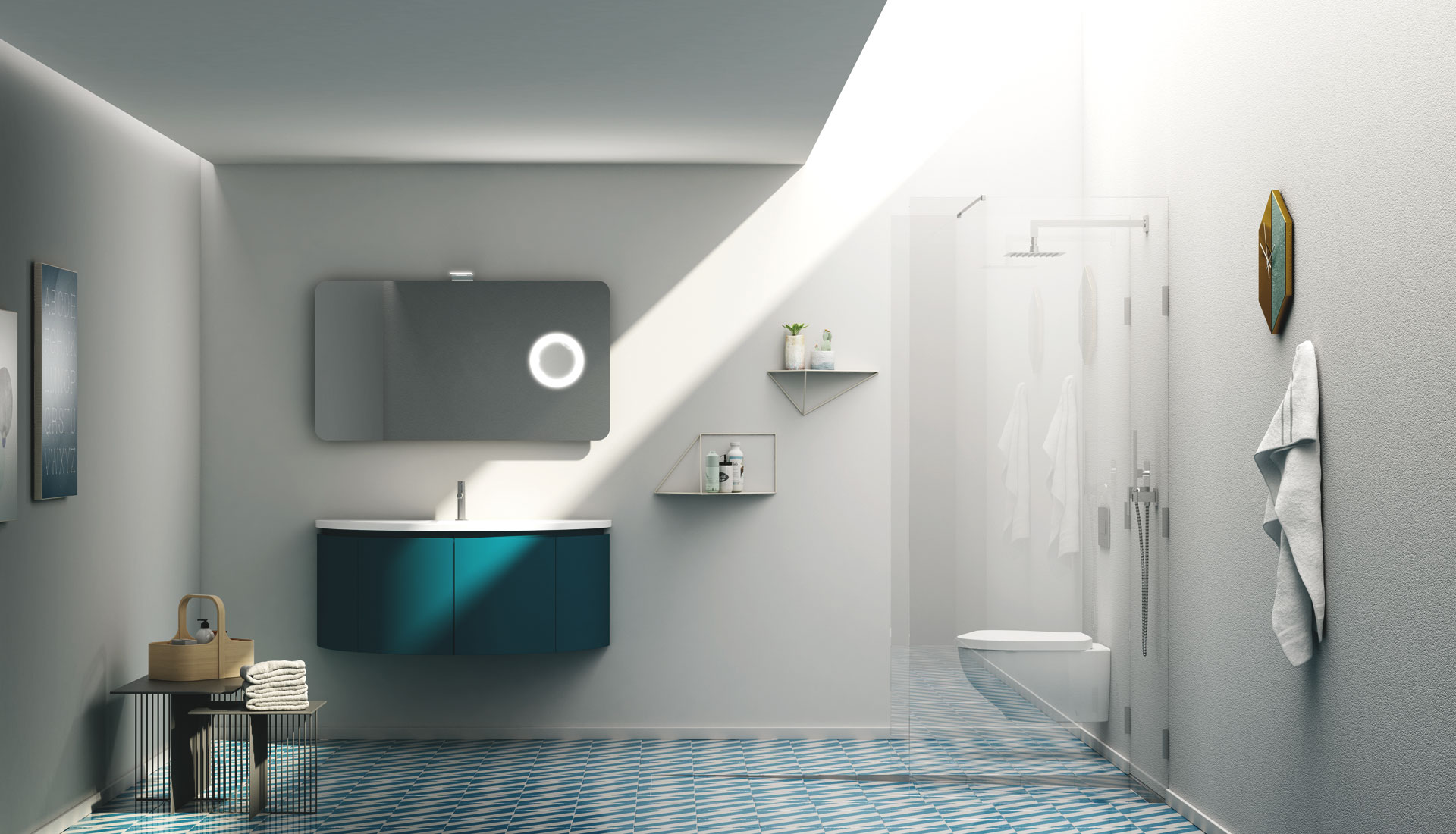 Handleless bathroom furniture - Puntotre Arredobagno
