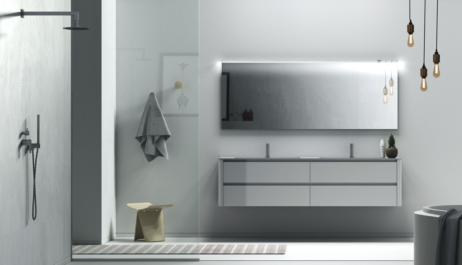 handleless bathroom furniture puntotre arredobagno