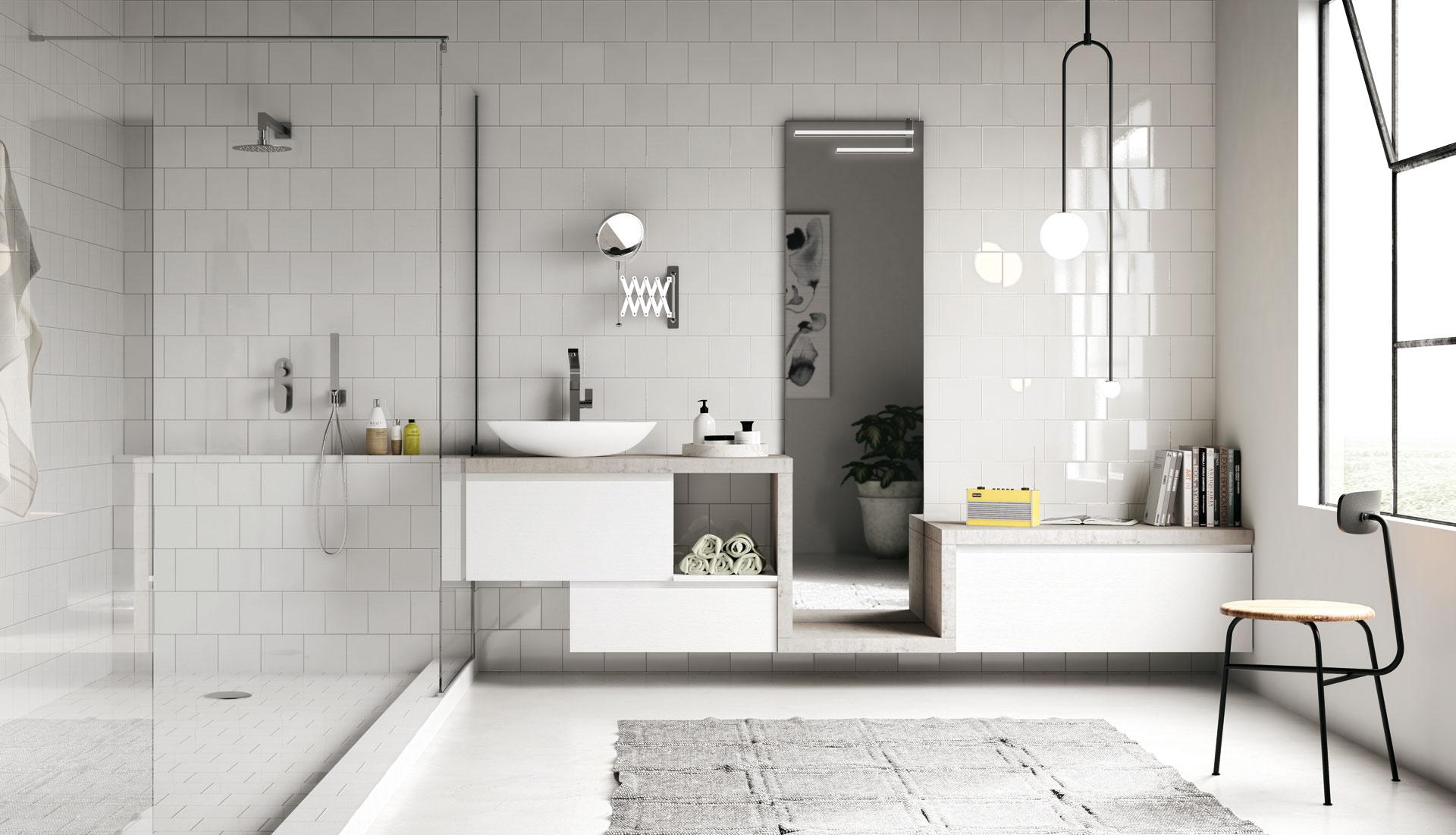 Handleless bathroom furniture puntotre arredobagno - Puntotre arredobagno ...